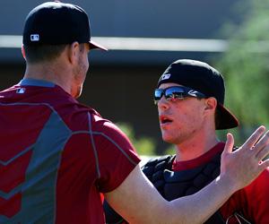 Blake Lalli and Blake Beavan talk over a bullpen session at Salt River Fields. (Photo by Jennifer Stewart/Arizona Diamondbacks)
