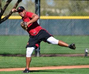 Yasmany Tomas throws off-balance during a Spring Training practice. (Photo by Jennifer Stewart/Arizona Diamondbacks)