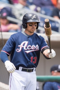 Over the last few years, Cody Ransom has let his kids choose his walk-up music. (Photo by: David Calvert/Reno Aces)