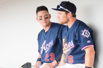 Peter O'Brien and Brandon Drury in the dugout at Aces Ballpark