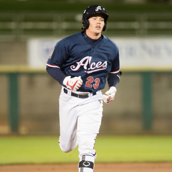 Peter O'Brien paces Reno with three of the club's franchise-record 11 multi-homer games this year. (David Calvert/Reno Aces)