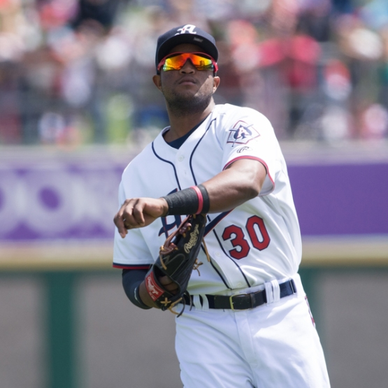 Sócrates Brito recorded a pair of outfield assists on Friday. (David Calvert/Reno Aces)