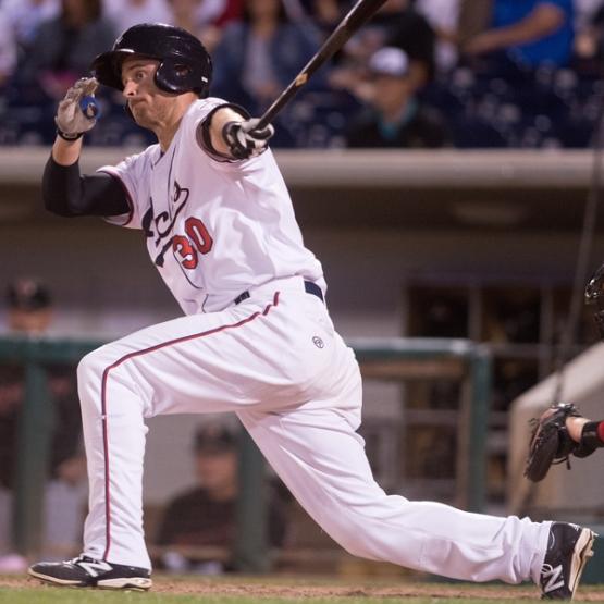 Todd Glaesmann is four games shy of the longest hitting streak of his career. (David Calvert/Reno Aces)