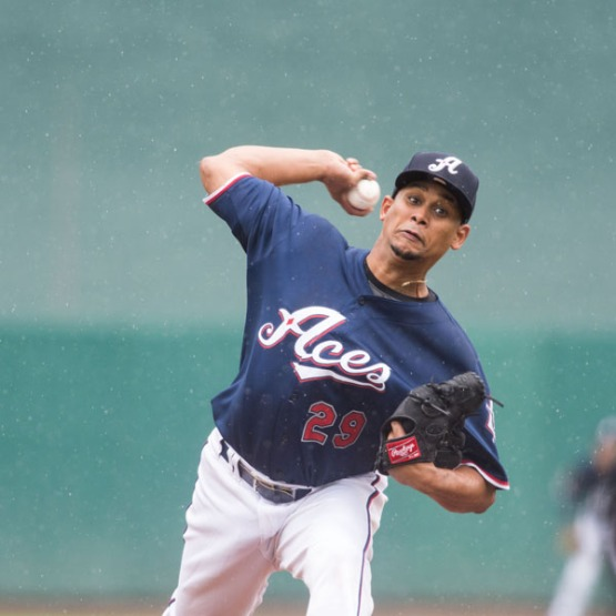 Edgar Garcia and the Aces' starters allowed just five runs during the Albuquerque series. (David Calvert/Reno Aces)