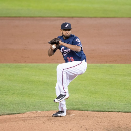 Enrique Burgos has been dominant in the late innings for Reno. (David Calvert/Reno Aces)