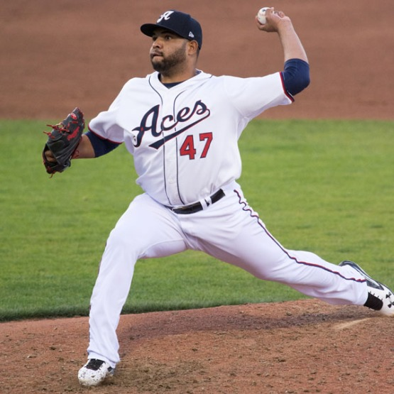 Edwin Escobar looks to pitch the Aces to a series split today. (David Calvert/Reno Aces)