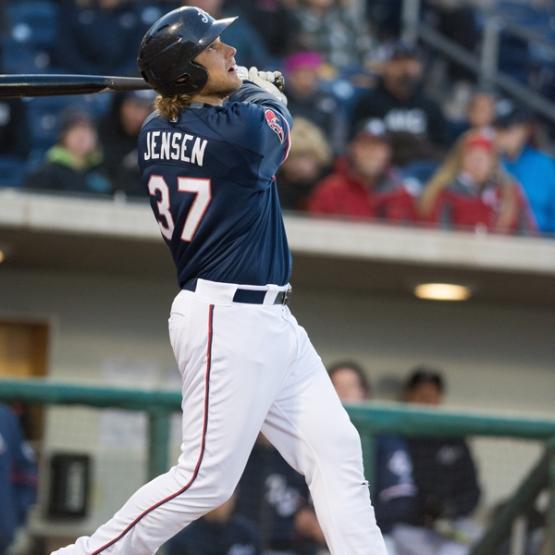 Kyle Jensen tied the Aces' single-season records for home runs and RBI on Wednesday. (David Calvert/Reno Aces)