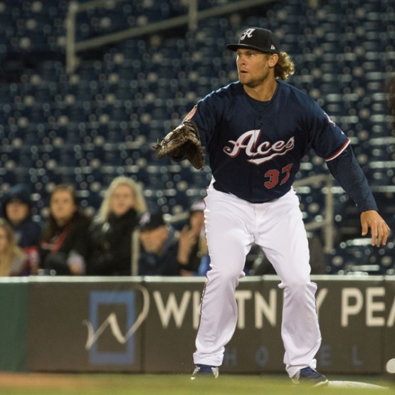Kyle Jensen caught the third out of the Aces' first-ever triple play last night. (David Calvert/Reno Aces)