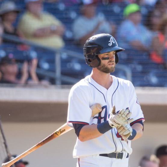 Mitch Haniger batted .556 with a home run, a double, three RBI and four runs scored during the OKC series. (David Calvert/Reno Aces).