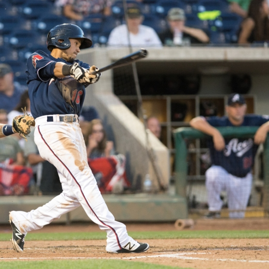 Ildemaro Vargas had three hits last night, part of the Aces' 45 total knocks in the first three games of this series. (David Calvert/Reno Aces)